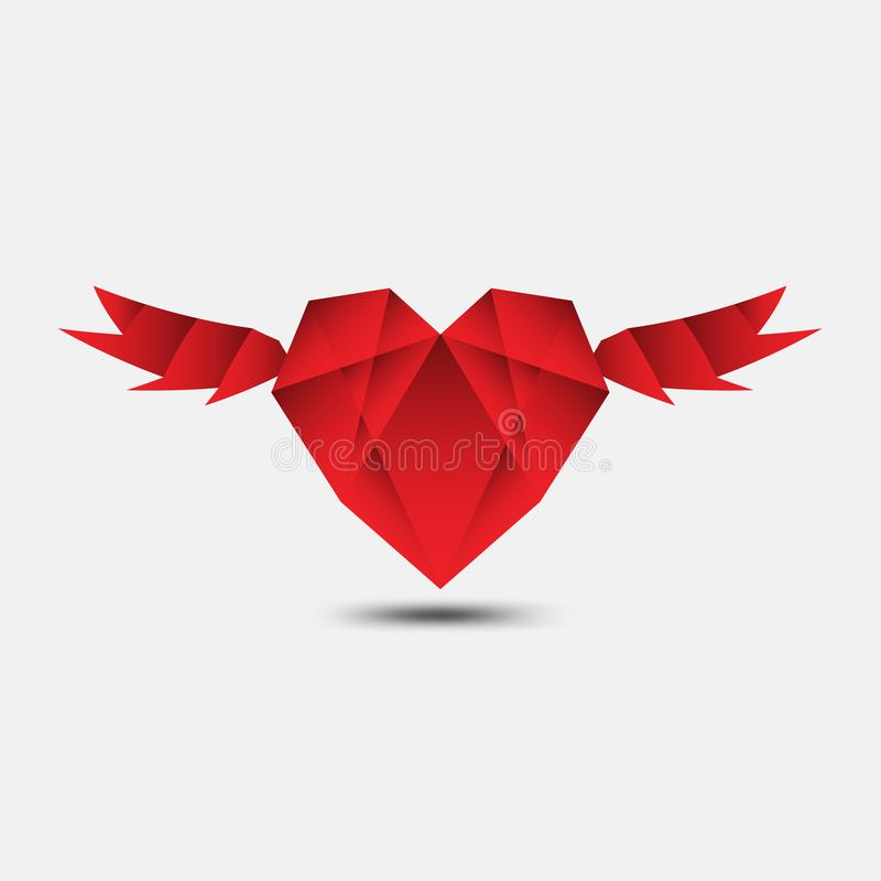 Red heart polygonal vector, heart icon, logo, flat icon for apps and website, love sign, valentine symbol, polygon graphic. Eps10 stock illustration