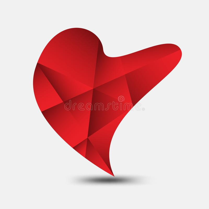 Red heart polygonal vector, heart icon, logo, flat icon for apps and website, love sign, valentine symbol, polygon graphic. Eps10 vector illustration