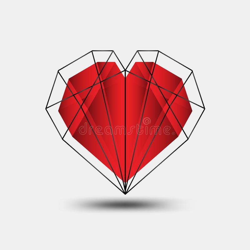 Red heart polygonal vector, heart icon, T shirt logo, flat icon for apps and website, love sign, valentine symbol, polygon graphic. Red heart polygonal vector royalty free illustration
