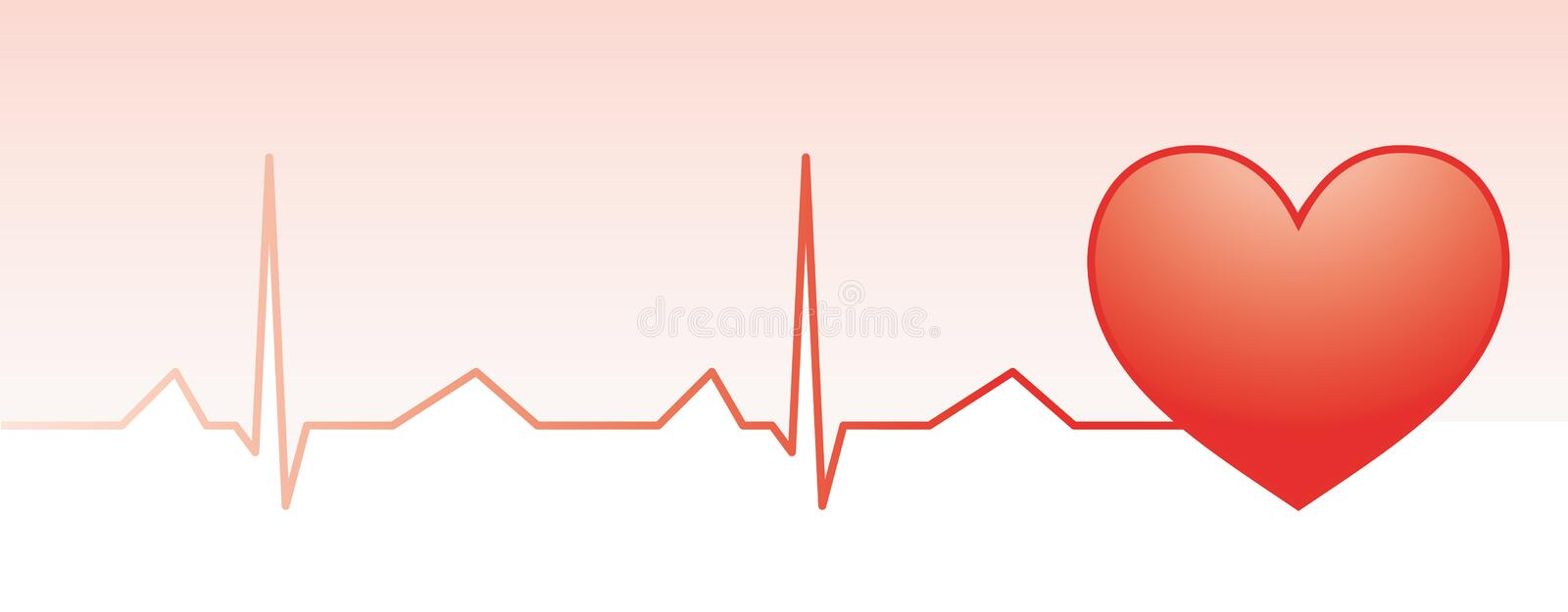 Red heart pulse monitor. With heart shape vector illustration