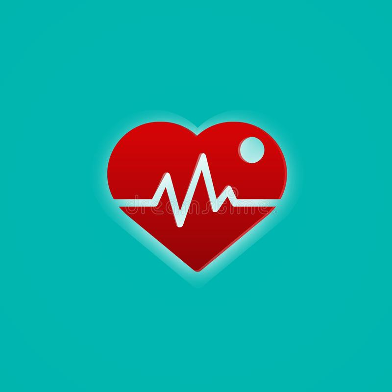 Red heart with pulse wave. Medical and symbol concept. Abstract icon theme.  stock illustration