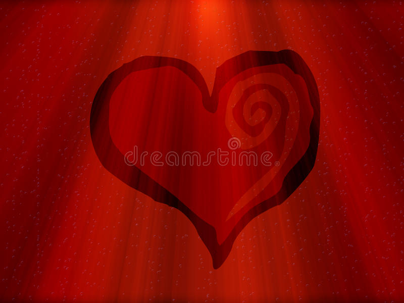 Red heart with rays. Red heart for valentines day vector illustration