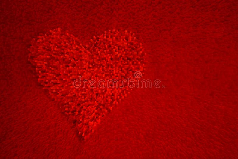 Red heart on red background vector illustration