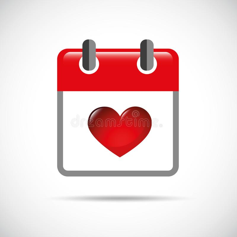 Red heart in a red calendar royalty free illustration