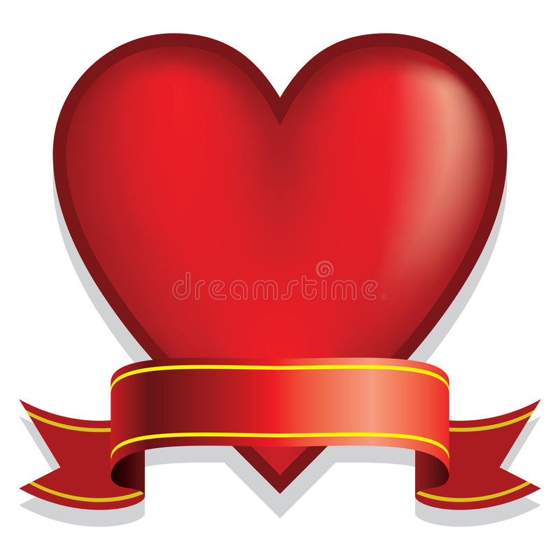Download Red heart with ribbon stock vector. Illustration of date - 21071207