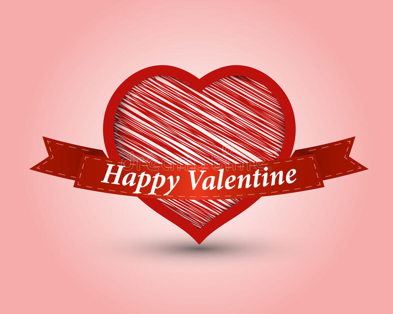 Red Heart With Ribbon Royalty Free Stock Photo