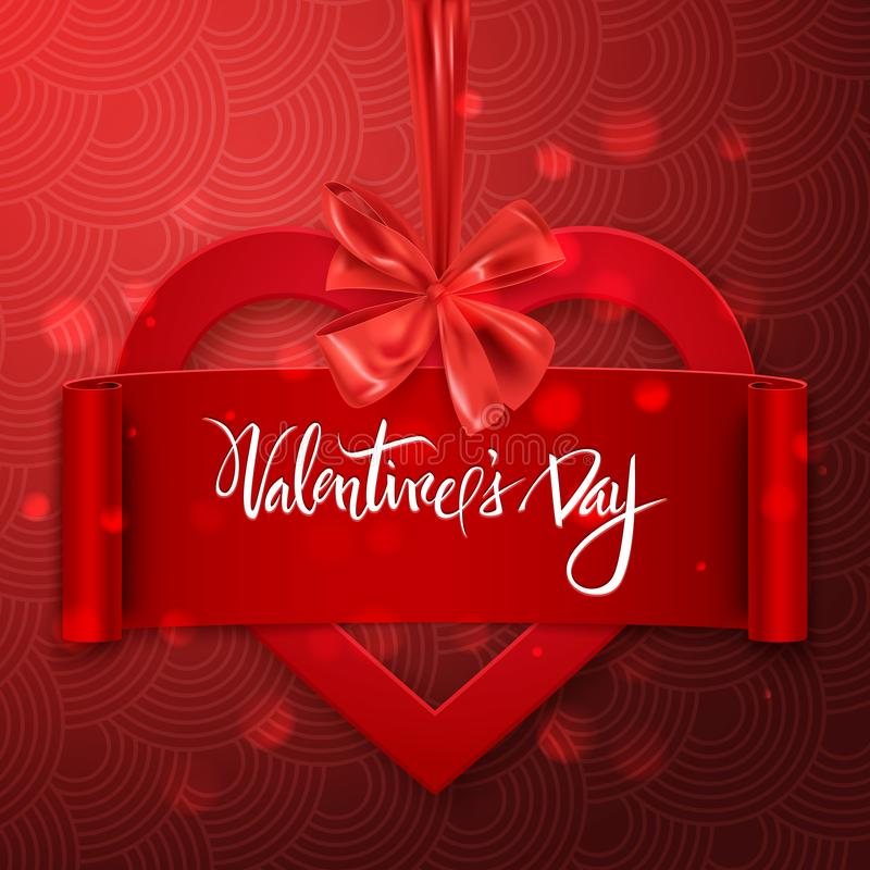 Red heart with ribbon and decorative bow, Happy Valentine`s Day heart, vector illustration royalty free illustration