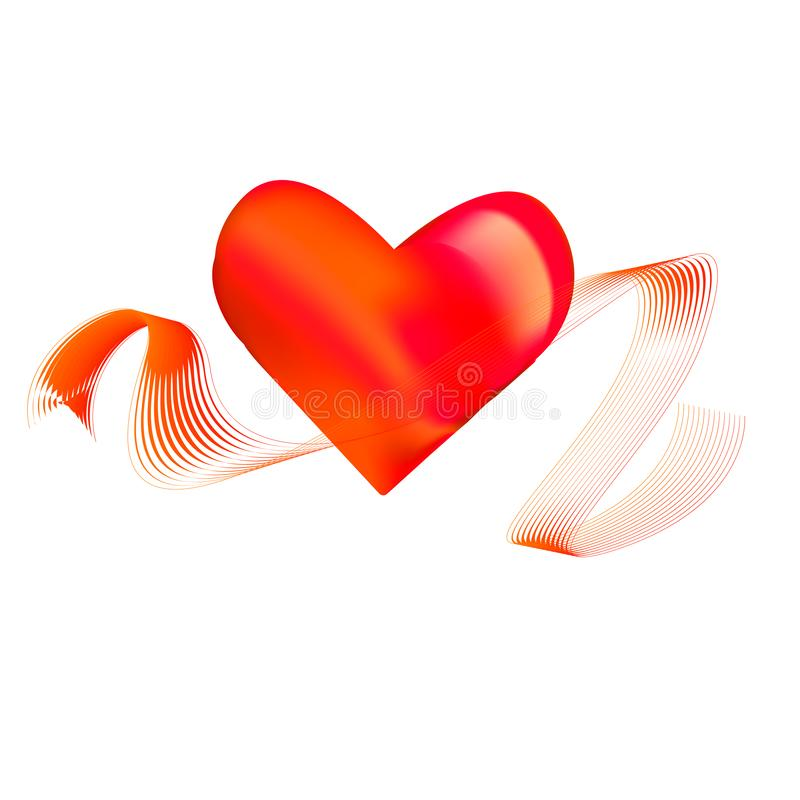 red heart with ribbon stock illustration