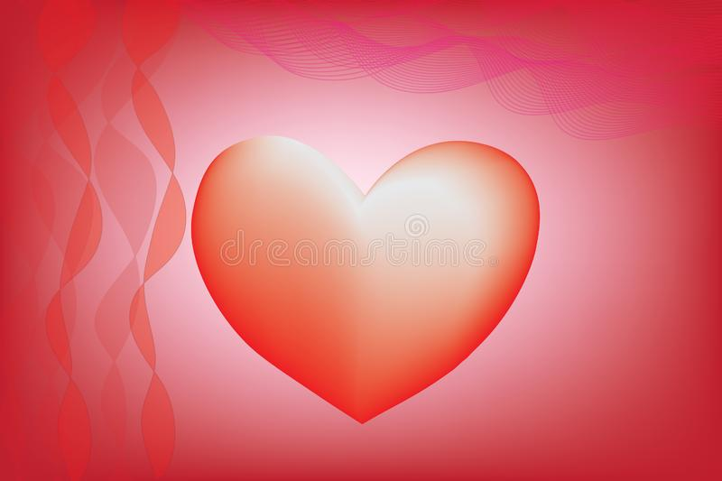 Red heart Red heart with ribbons and wave lines in illustration. Red heart with ribbons and wave lines in illustration for Valentines day, love, heart day royalty free stock photos