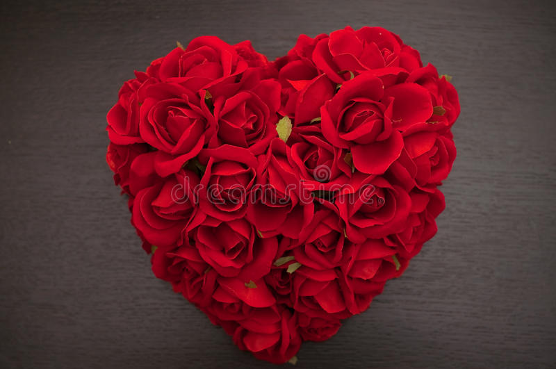 Red heart of roses stock images