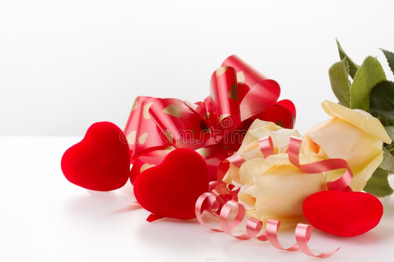 Red heart and roses. Valentine`s Day. White background royalty free stock photography