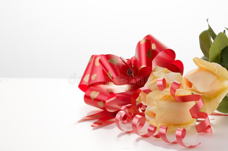 Red heart and roses. Valentine`s Day. White background royalty free stock images