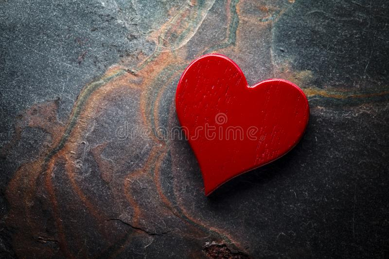 Red Heart On Slate stock image