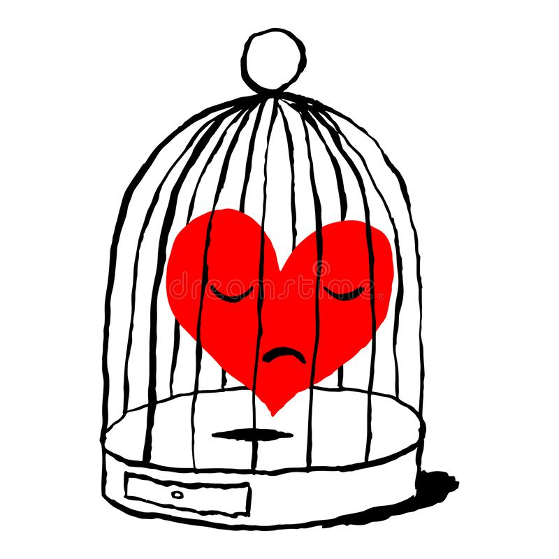 A red heart is sad in the cage for the bird. Funny and amusing greeting card for the holiday feast of Saint Valentine Day. Sketch stock illustration