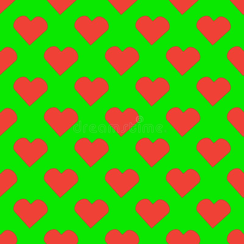 Red heart pattern on the green background royalty free illustration