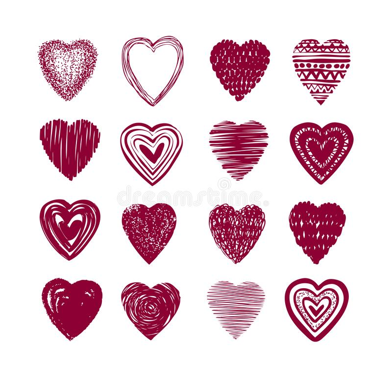 Red heart set of icons. Love, valentine, romance symbol or label. Vector illustration. Isolated on white background royalty free illustration