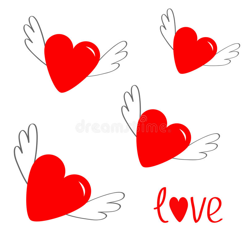 Red Heart Set With Wings Cute Cartoon Contour Sign Symbol Winged