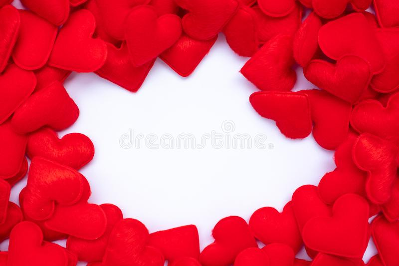 Red heart shape decoration background with blank copy space for text. Love, Wedding, Romantic and Happy Valentine' s day holiday stock images