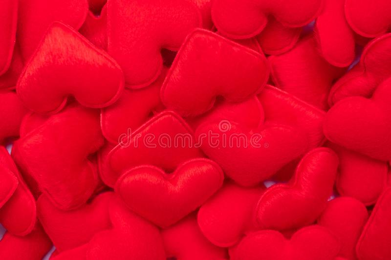 Red heart shape decoration background. Love, Wedding, Romantic and Happy Valentine' s day holiday. Concept stock image