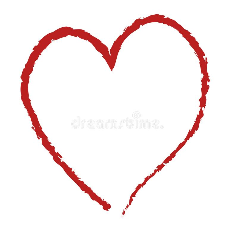Red heart shape, hand drawing stock illustration
