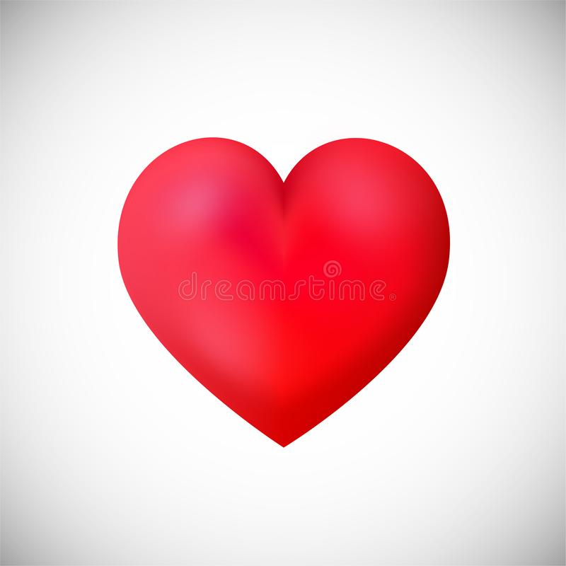 Red heart shape icon on white background stock illustration