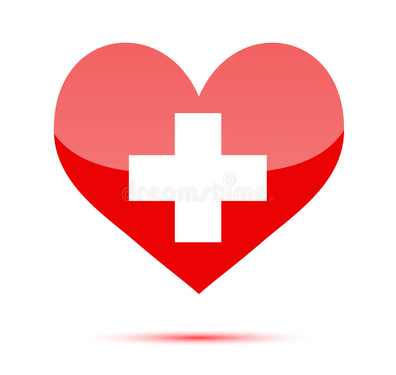 red heart shape with medical cross stock vector