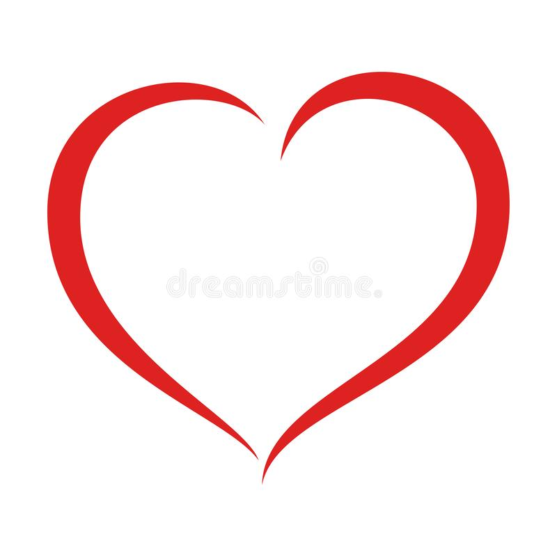 Red heart shape silhouette stock images