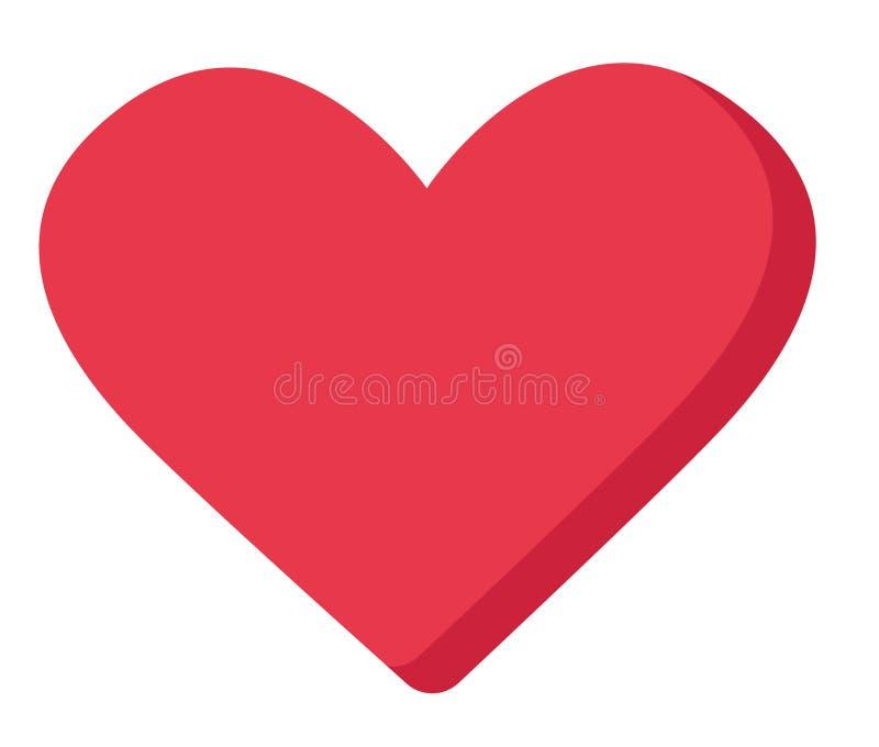 Red heart shape vector cartoon illustration. royalty free illustration