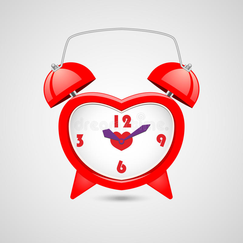 Red heart shaped clock. Additional format EPS 10.0 stock photo
