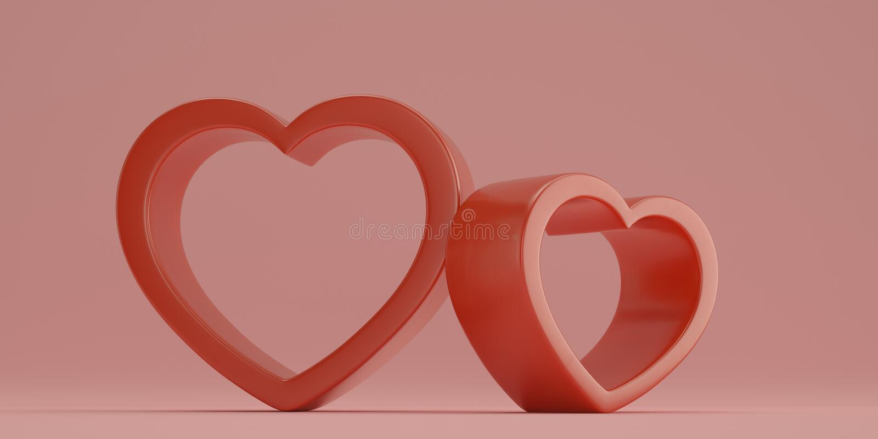 Red heart shaped frame on pink background 3D illustration vector illustration