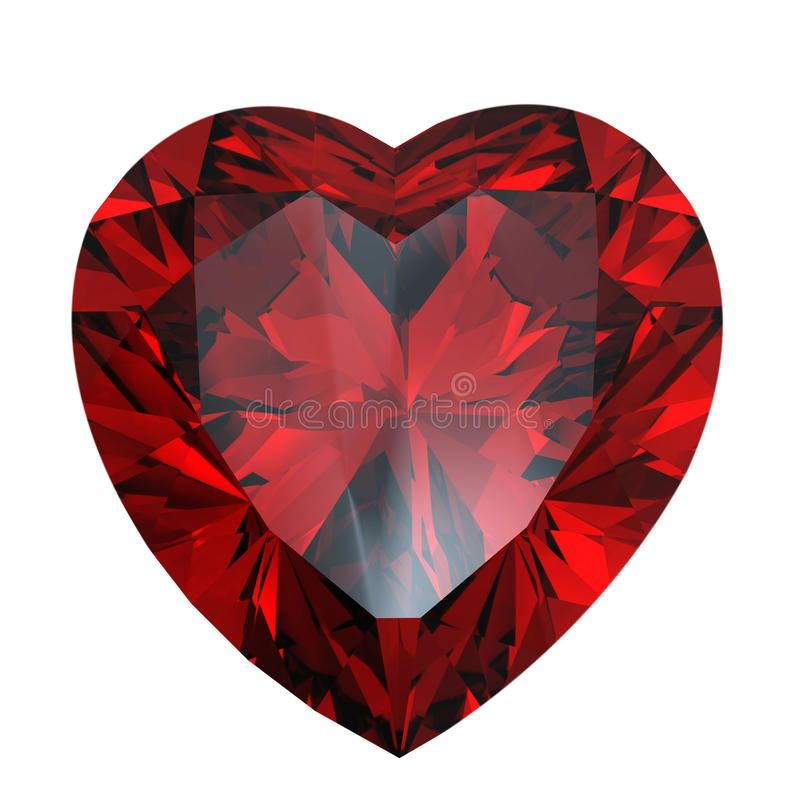 Red heart shaped garnet vector illustration