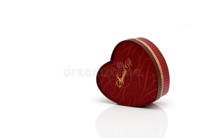 Red heart-shaped gift box stock photography