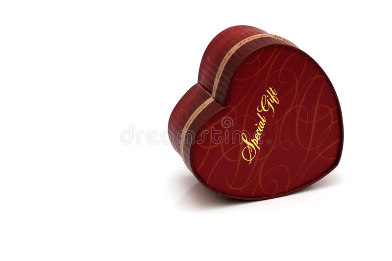 Red heart-shaped gift box royalty free stock photo