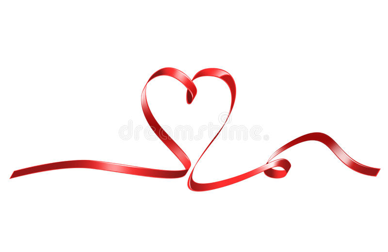 Download Red heart shaped ribbon stock illustration. Image of blank - 27932852