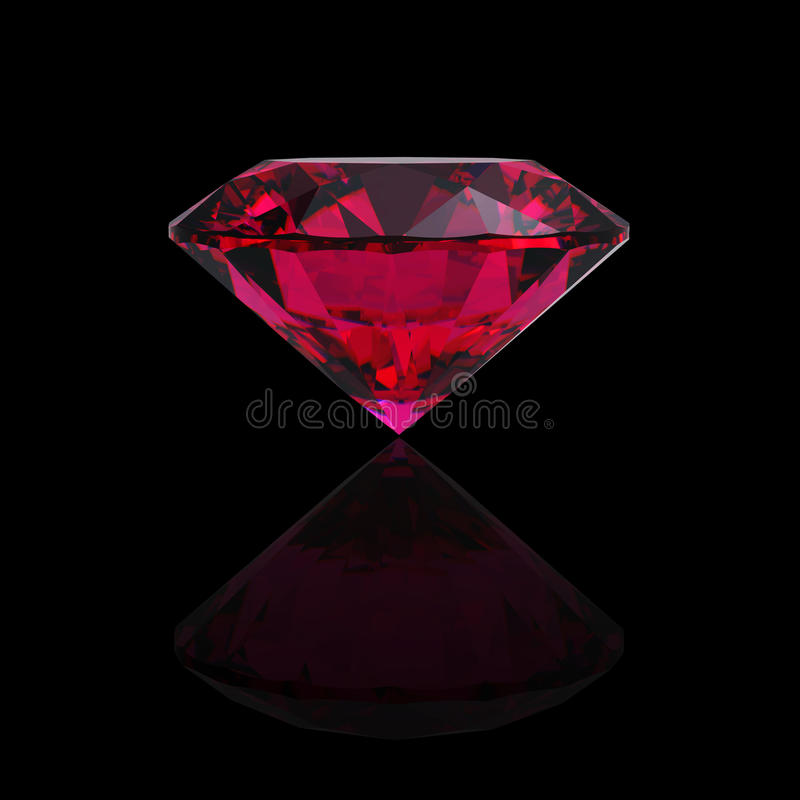 Red heart shaped ruby vector illustration