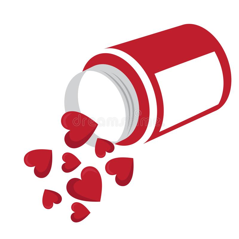 Red heart shaped tablets in the bottle. stock illustration