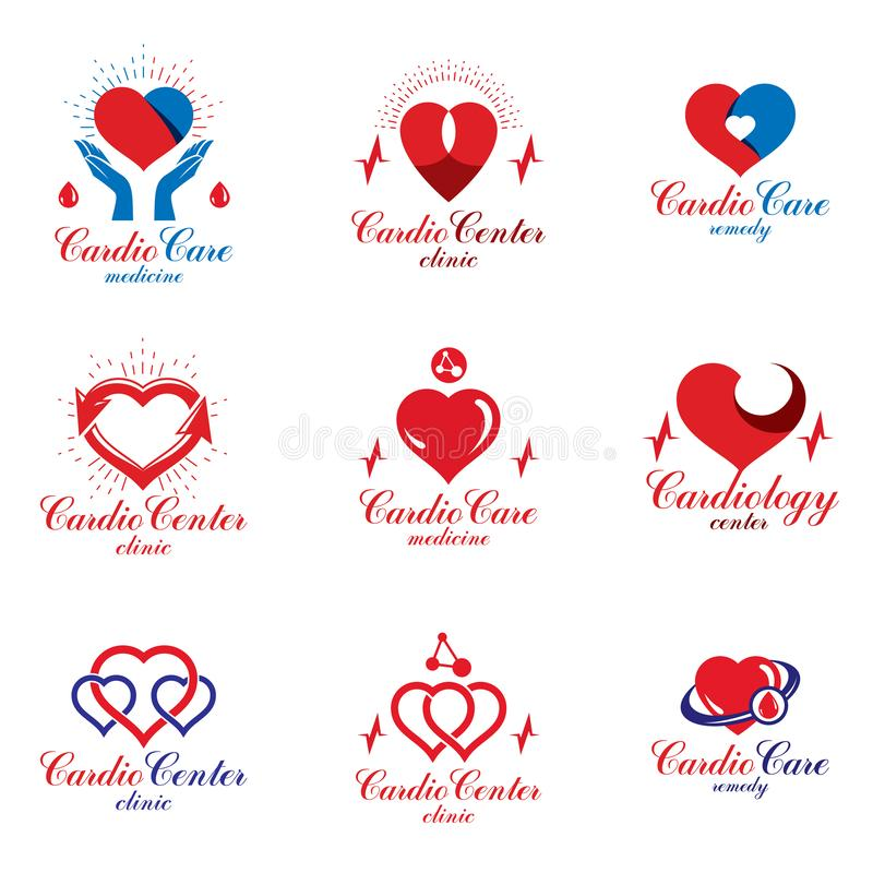 Red heart shapes made using ecg charts and caring hands. Set of cardiovascular system diseases remedy conceptual vector logotypes. For use as cardio center royalty free illustration