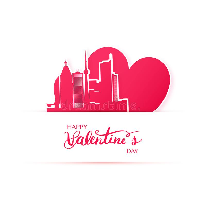 Red heart and silhouette of Toronto city, paper stickers. royalty free illustration