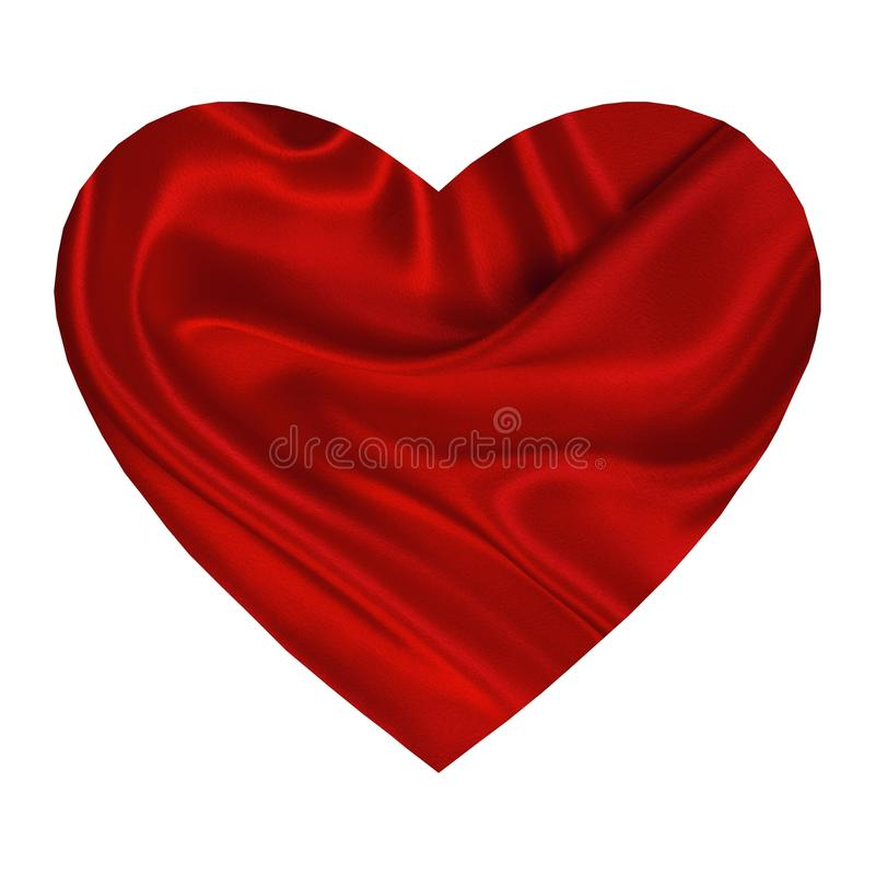 Red heart silk. A white background with a big silk texture red heart stock illustration