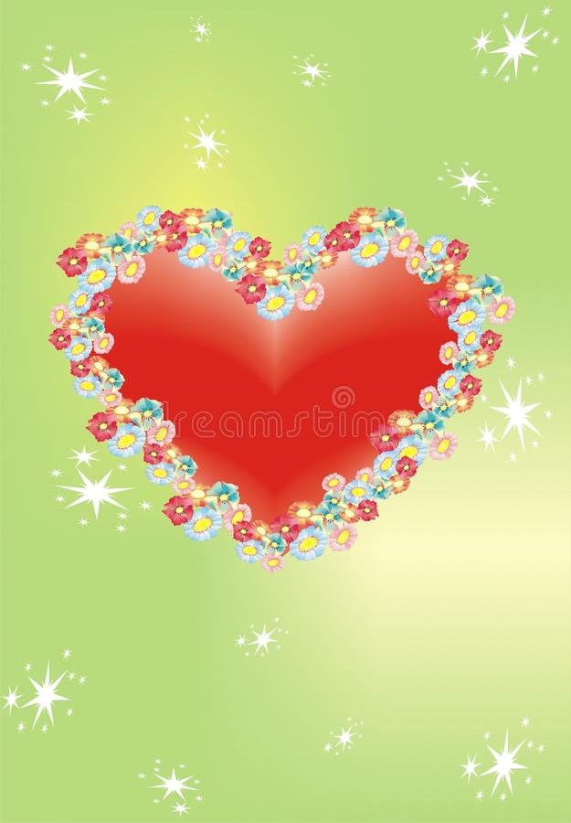 Download Red Heart With Stars And Flowers Stock Vector - Illustration: 12747577