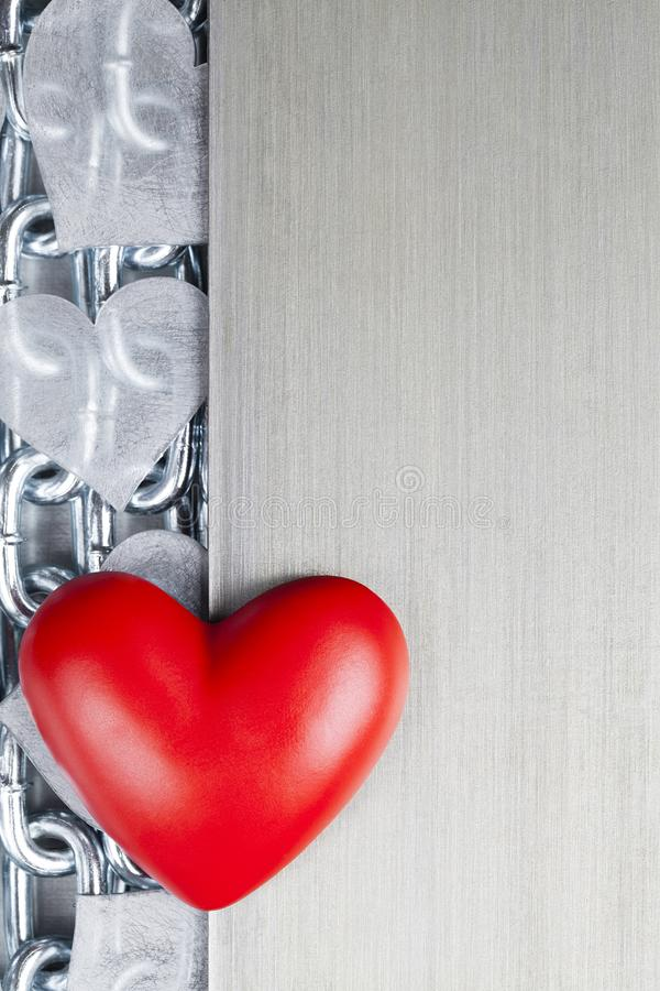 Red heart on steel chains and aluminum background vector illustration