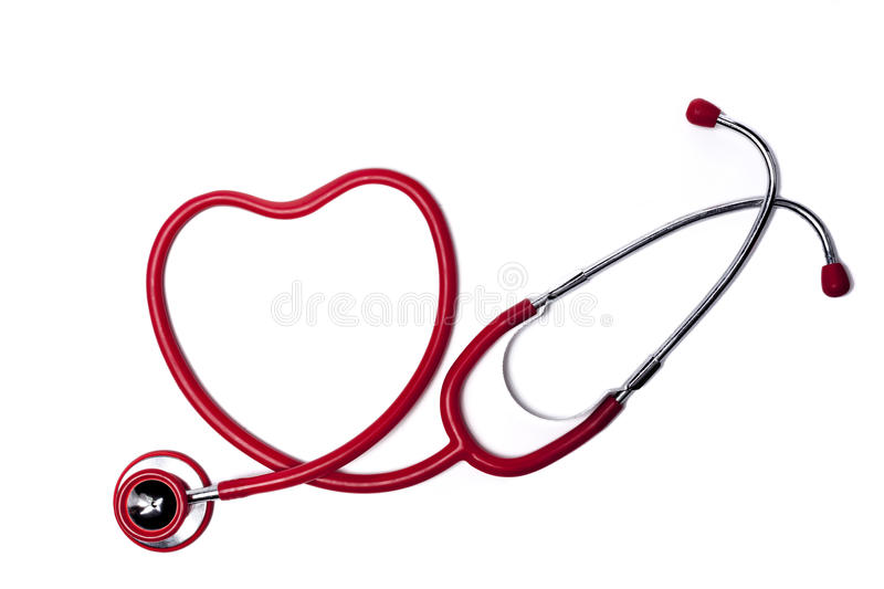 Red Heart Stethoscope. Red Heart Shape Stethoscope Isolated On White Background royalty free stock photo