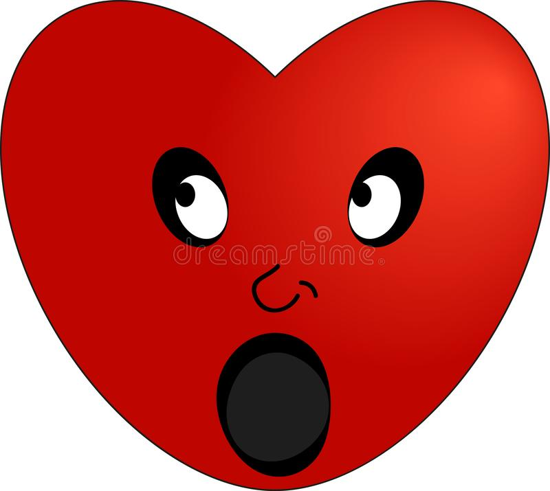 Red heart surprised emoticon royalty free illustration