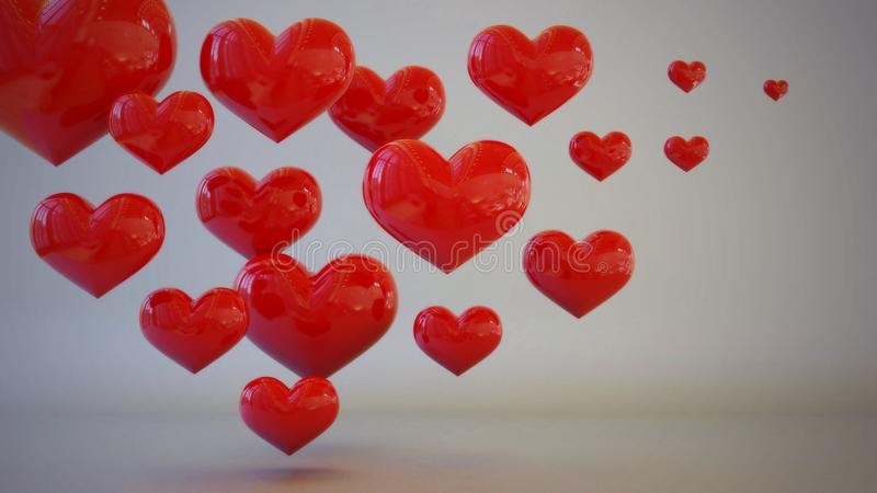 Red heart themed 3D illustration concept royalty free stock image