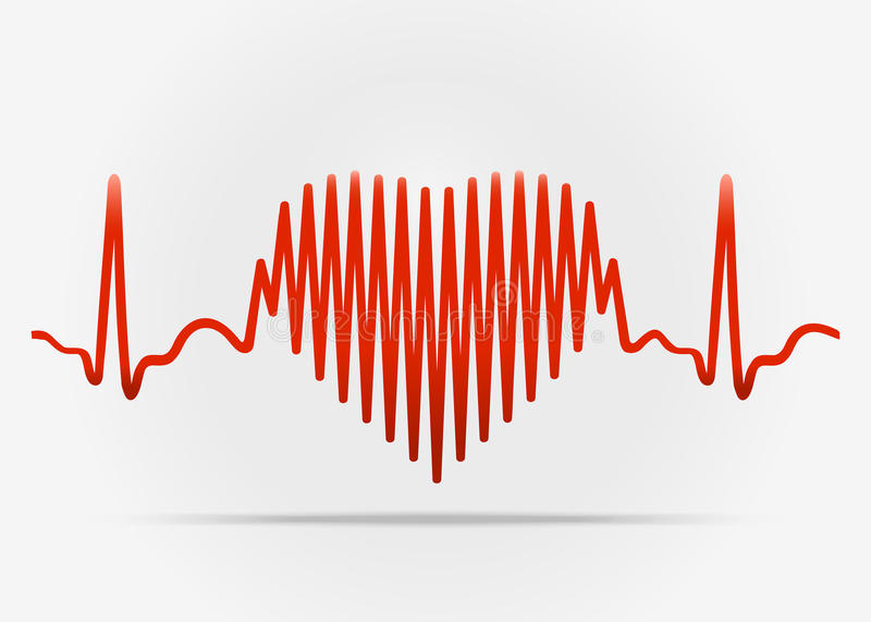 Red heart with the transition to ECG with shadow. Illustration on white background vector illustration