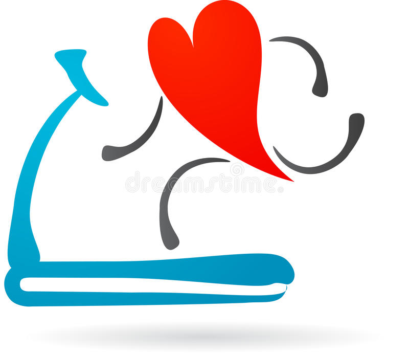 Red heart on a treadmill. Illustration of a red hearth character running on a treadmill royalty free illustration