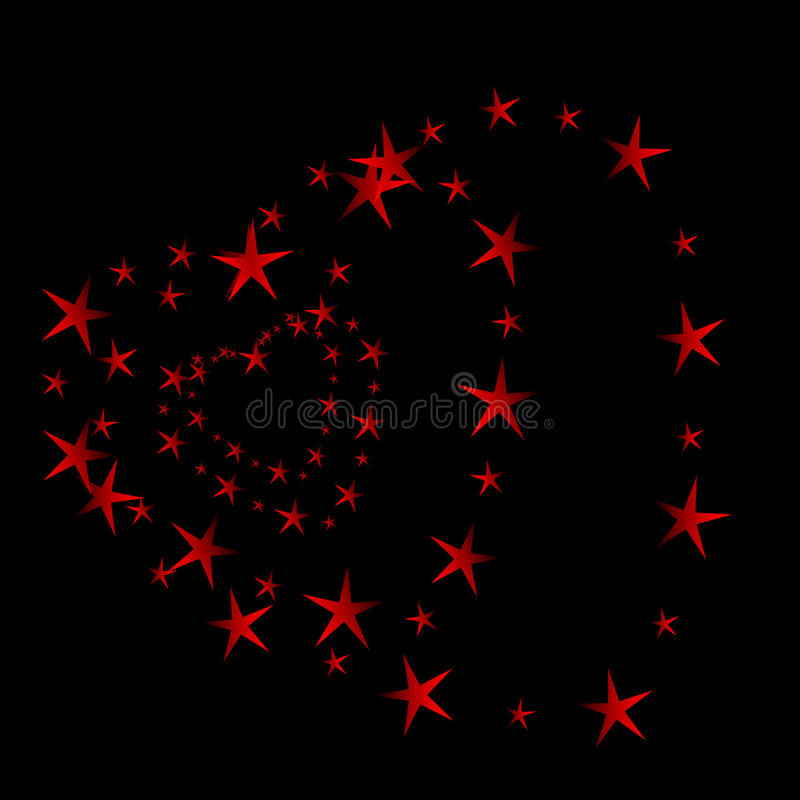 Red heart tunnel. Stars in the sky create a heart tunnel royalty free illustration
