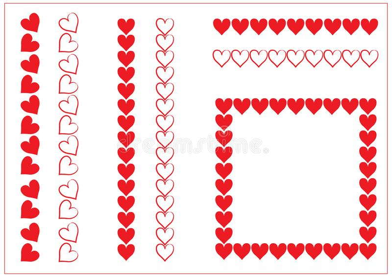 Red Heart valentine border set stock photography