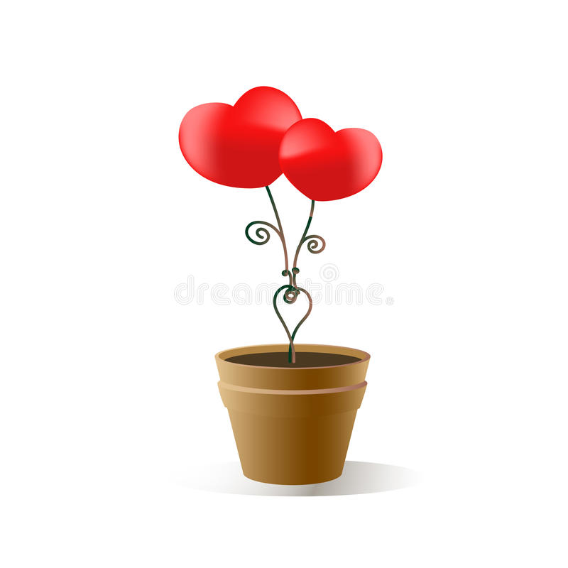 Red heart Valentine`s Day illustration on a white background in EPS 10. N stock illustration