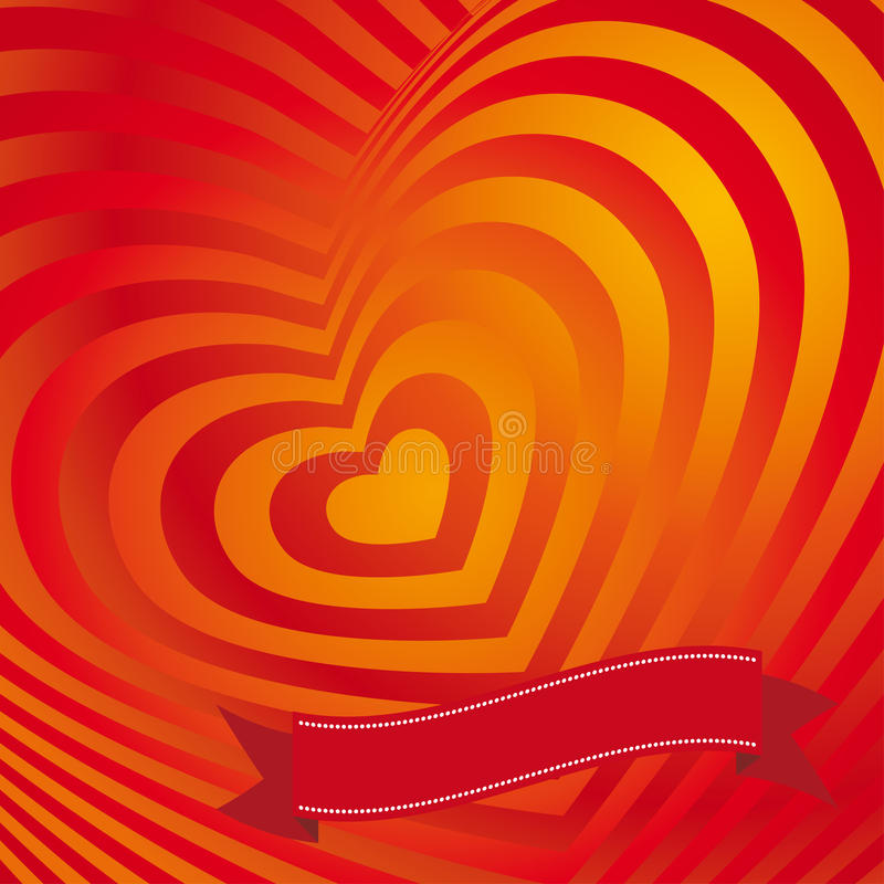 Red heart Valentines day card. Three-dimensional volumetric image. Heart and ribbon. Vector royalty free illustration